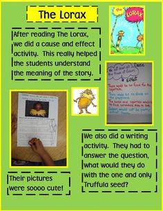 The Lorax writing & math activities - dr seuss activities for kids Dr. Seuss, Dr Seuss Week, Dr Seuss Activities, Earth Day Activities, Writing Activities, Cause And Effect Activities, Teaching Reading, Teaching Ideas, Teaching Math
