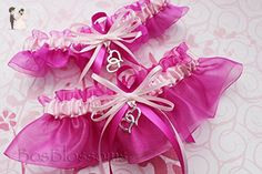 Customizable handmade - Swish Double Heart bridal prom garter set - pink satin & fuchsia organza - Bridal garters (*Amazon Partner-Link)
