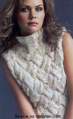 Модный джемпер без рукавов с плетеным узором - Жакеты,Пуловеры, свитера