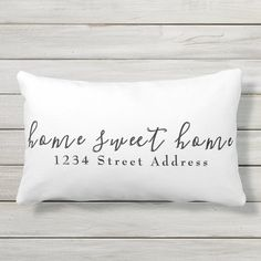 Home Sweet Home & Address | Script | White Lumbar Pillow - tap/click to personalize and buy #LumbarPillow #white #home #address #sweet #modern Lumbar Pillow, Bed Pillows, Modern Decorative Pillows, Tee Set, Sweet Home, Script Writing, George Nelson, Patio Chairs, Pillow Design
