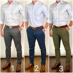 Which pants color is YOUR favorite❓ Gray, navy blue, or olive green❓🤔 Let me know in the comments. Mens Smart Casual Outfits, Business Casual Attire For Men, Formal Men Outfit, Business Outfit, Men Casual, Blue Pants Outfit, Blue Pants Men, Olive Green Pants Outfit, Formal Shirts For Men