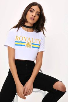 Royalty crop top featuring short sleeves, crew neck and a relaxed fit. Body Dentelle, Fashion Wear, Womens Fashion, Slogan Tee, Lingerie, Classy And Fabulous, Sexy, Latest Trends, Royalty