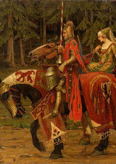 Alphonse Mucha (Czech, 1860 - 1939). Heraldic Chivalry, . Oil on Canvas, 89 x 115.5 cm.