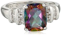 Sterling Silver Mystic Fire Topaz and Created White Sapphire Cushion Ring Size 7 >>> Check out this .