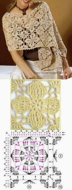 Chal con grannys cuadrados con motivo floral al crochet