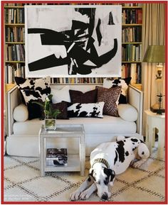 Pet friendly decorating - look how this home owner co-ordinated the color of his/her dog to the furnishings.