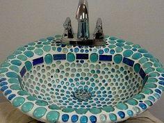 Bathroom, Amusing Bathroom Accessory Ideas With Mosaic Tile Bathroom Pictures: Beauty Home Depot Bathroom Sinks With Mosaic Tiles Mosaic Bathroom, Mosaic Backsplash, Mosaic Diy, Mosaic Crafts, Mosaic Projects, Mosaic Glass, Mosaic Tiles, Small Bathroom, Bathroom Sinks
