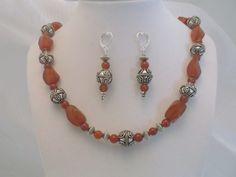 Carnelian Swirl & Silver 19 inch Necklace & Earrings Set for sale on PSP Unique Jewelry @etsy.com Gemstone Jewelry, Unique Jewelry, Beautiful One, Psp, Carnelian, Earring Set, Beaded Bracelets, Gemstones, Silver