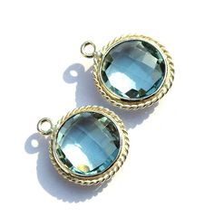 925 Silver Plated Aqua Quartz Faceted Coin by RareGemsNJewels