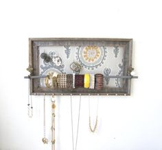 Jewelry Organizer Barnwood Jewelry Holder Yellow by TheHopeStack