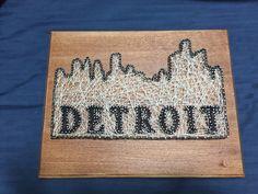 """Custom Made-to-Order Downtown Detroit (""""The D"""") Skyline String Art by VotreVieEnRose on Etsy https://www.etsy.com/listing/264209302/custom-made-to-order-downtown-detroit"""