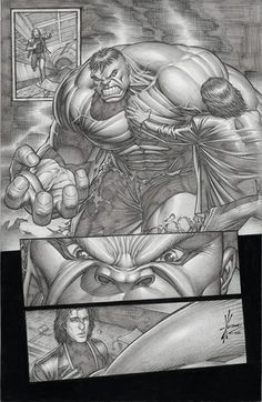 Hulk: panelled comic book page pencil art by Dale Keown