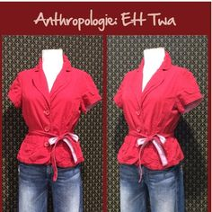 """Anthro """"Sally Jacket"""" by Ett Twa 2005 old school Anthro. Red light weight cotton jacket by Ett Twa.  Subtle stripe to the woven fabric, removable belt, button front, very good preloved condition. **  Prices are as listed- No offers please.  I'm happy to bundle to save shipping costs, but there are no additional discounts.  No trades, paypal or condescending terms of endearment  ** Anthropologie Jackets & Coats"""