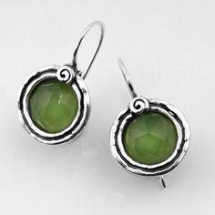 green and silver earrings #Apple quartz shablool.com