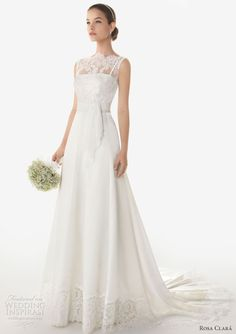 Rosa Clará 2013 Bridal Collection. Bermeo sleeveless crepe gown with rebrodé lace and crepe overlay.