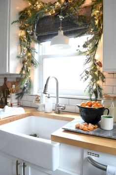 Looking for beautiful Christmas decor inspiration? Christmas in our Small Kitche… Looking for beautiful Christmas decor inspiration? Christmas in our Small Kitchen- Nesting With Grace Pin: 1080 x 1620 Decoration Christmas, Farmhouse Christmas Decor, Noel Christmas, Rustic Christmas, Christmas Garlands, Christmas Decor In Kitchen, Christmas Island, Christmas Quotes, Christmas Fireplace