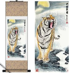Home Decor Silk Chinese Tiger ink watercolor flower and birds art feng shui canvas wall damask picture framed scroll painting