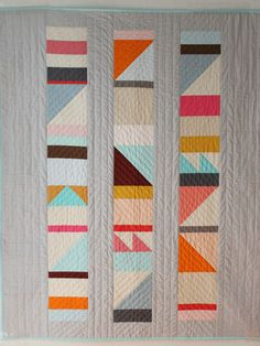 Modern baby quiltbright geometric design by BrigitGail on Etsy