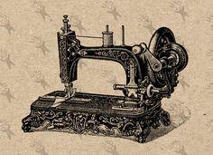 Sewing Machines Best, Antique Sewing Machines, Vintage Sewing Patterns, Sewing Machine Tattoo, Sewing Machine Drawing, Machine Image, Image Clipart, Clip Art, Burlap Fabric