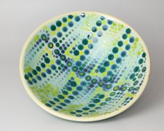 Ceramic Pottery Bowl with a Art Deco Style Dot Pattern by AmuseYou