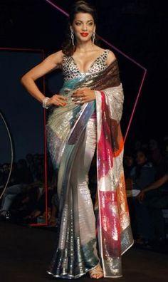 Mugdha Godse in Satya Paul http://www.satyapaul.com/satya-paul/ Saree at Lakme India Fashion Week