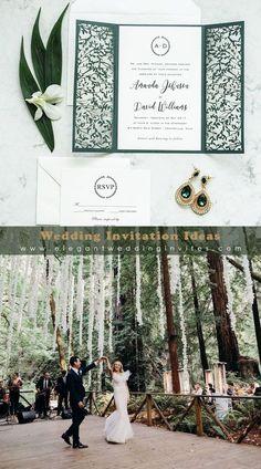 Modern Elegant Forest Wedding With Greenery Laser Cut Wedding Invitation Ideas EWWS208