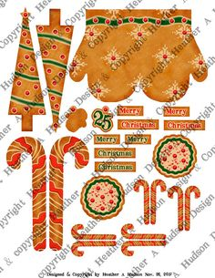 Vintage Retro Christmas Gingerbread Cookie Mitten Tree Candy