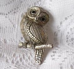 Vintage Silver Hoot Owl Brooch Pin with Black by FRESHFINDS