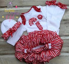 Candy Cane Cutie Christmas Outfit Ruffle by HottieTottieGirl, $65.00 Baby L, Baby Girls, Ruffle Diaper Covers, Ruffle Bloomers, Christmas Applique, Christmas Settings, Holiday Outfits, Candy Cane, Eden Rose