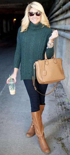 Forest Green Sweater, Boots, Purse, Coffee in Hand