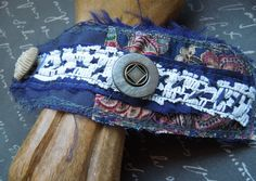 Navy Blue Textile Cuff with Blue and Creme by dwhitecreations, $25.00