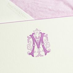 Bespoke Stationery | Bone white card, engraved from hand cut die with monogram in hyacinth, hand beveled with round corners in hyacinth, envelopes hand lined with lavender tissue