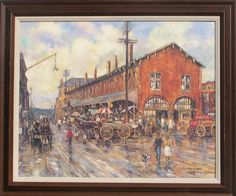 """Leslie Cope Street Scene Countersigned Print, signed and countersigned Leslie Cope, 1989, print is in excellent condition, 19.5"""" x 15.75"""", frame is wood and in excellent condition, 24"""" x 20.25"""""""