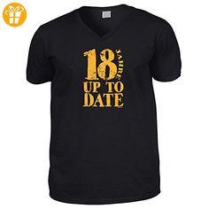Hochwertiges T-Shirt mit V-Aussschnitt zum 18.Geburtstag : 18 Jahre /