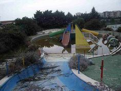 Spain, Barcelona, L'Aquatic Paradis - abandoned aquatic water park. Overwhelmed by debt and lack of sponsors, the Aquatic Park in Sitges ceased to be a paradise and became an urban legend: it is said that a child died in the water park.