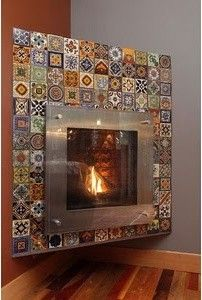 Surrounding this contemporary fireplace with classic Spanish tile is a modern nod to tradition.