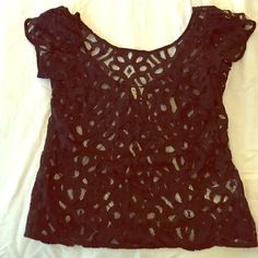 Beautiful lace/sheer blouse Beautifully made lace sheer top from Pins and Needles. Can be worn to work with a cami underneath, or out on the weekends with just a bandeau. Must have!! Pins & Needles Tops Blouses