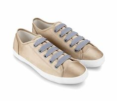 Satin Sneaker With Contrast Grosgrain Shoelaces by ZALORA. Made from Sateen fabric this gold shoes, look so gorgeous, with white rubber sole, combined with grey  laces, this gorgeous gold shoes will complete your look perfectly. http://www.zocko.com/z/JFz2C