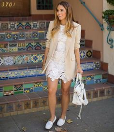 Short white lace spring summer dress 2015 paired with beige boyfriend blazer, white loafers and bag for that casual & chic look