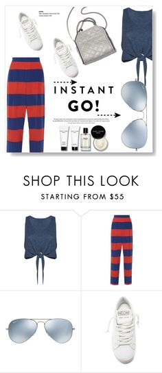 """""""Shades of You: Sunglass Hut Contest Entry"""" by viola279 ❤ liked on Polyvore featuring Alice + Olivia, STELLA McCARTNEY, Ray-Ban, Golden Goose and Bobbi Brown Cosmetics"""