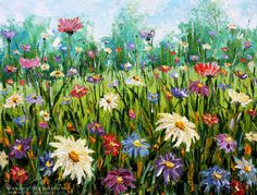 Artwork >> Valery Rybakow >> New Flowers oil painting Wildflowers. Palette knife paintings for sale. Artist Valery Rybakow. http://www.rybakow.com/slides/flowers-oil-painting-wildflowers_304.htm Enjoy the sunny flower meadow, inhale unique aroma of wild flowers and be happy!