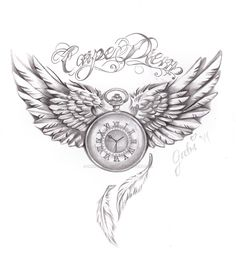 carpe diem tattoo commision by on DeviantArt Cute Thigh Tattoos, Tattoos Masculinas, Watch Tattoos, Baby Tattoos, Family Tattoos, Cute Tattoos, Body Art Tattoos, Sleeve Tattoos, Tattoos For Guys