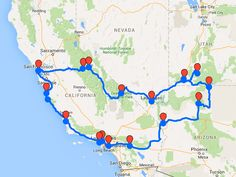 oute-westkust-Amerika-rondreis Road Trip Map, Road Trips, Travel Trailer Floor Plans, Go Usa, Travel Usa, Usa Roadtrip, The Road, California Travel, West Coast