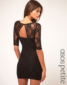 ASOS PETITE Exclusive Lace Dress With Cut Out Back Detail