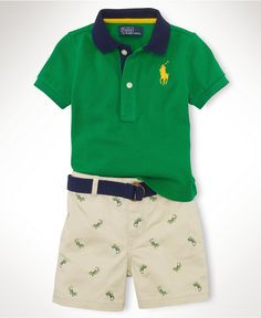 Ralph Lauren Baby Set, Baby Boys Polo Shirt and Schiffli Shorts - Kids Baby Boy (0-24 months) - Macys