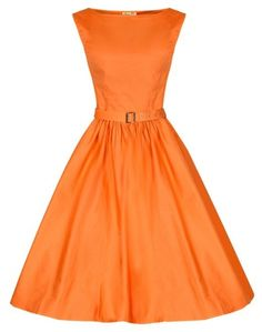 Vintage style Bridesmaid Dress in Pastel Orange. Audrey Hepburn style Vintage Dresses perfect for weddings and bridesmaids and guests available in 10 Colours and plus sizes! UK 6 - 26. #plussize #wedding #dresses #bridesmaids #UK #vintage #retro #hepburn #1950s #beautiful #pastel #1940s