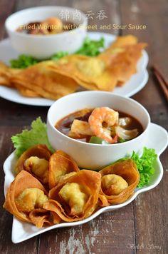 锦卤云吞 Fried Wonton with Sweet and Sour Sauce
