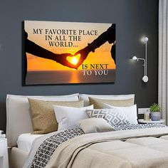 Sunset canvas, hanging signs, wall art quotes, canvas wall art, bedroom d. Navy Blue Wall Art, Blue Walls, Home Decor Bedroom, Diy Home Decor, Bedroom Ideas, Discount Bedroom Furniture, Couple Bedroom, Family Wall, Wall Art Quotes