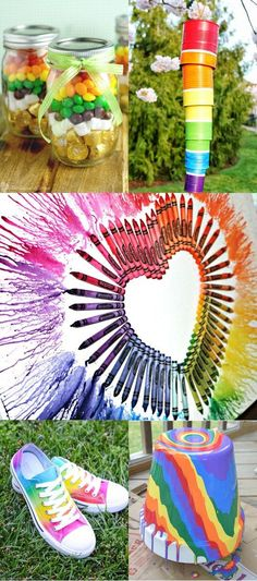 Pretty and fun DIY Rainbow Crafts. The BEST DIY Rainbow Crafts from indoor and outdoor decorations to fashion, headbands, and totes. These rainbow crafts will brighten up your life, and you'll love them all! Easy Diy Crafts, Diy Craft Projects, Diy Crafts To Sell, Diy Crafts For Kids, Fun Diy, Fun Crafts, Projects To Try, Amazing Crafts, Care Bear Birthday