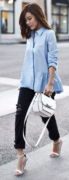 #streetstyle #casualoutfits #spring | Chambray Ruffle Loose Blouse + Black Ripped Denim | Tsangastic